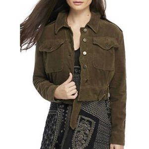 Free People Everlyn Cropped Military Green Jacket